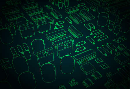 Stylized vector illustration of a printed circuit board with transistors and microelectronics on it
