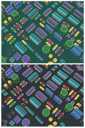 Stylized vector illustration of a printed circuit board with transistors and microelectronics on it in retro style