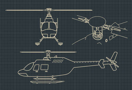 Stylized vector illustration of drawings of a civilian helicopter Çizim