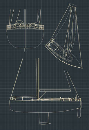 Stylized vector illustration of drawings of a sailing yacht