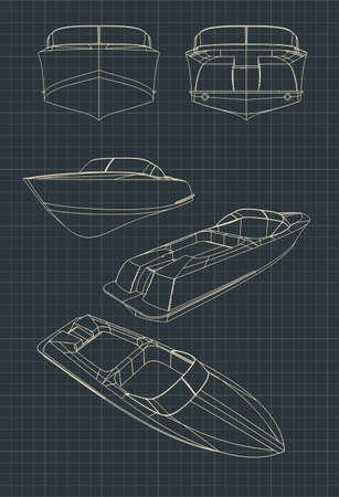 Illustrazione vettoriale stilizzata di disegni di un motoscafo Vettoriali