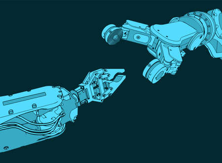 Stylized vector illustration on the theme of industrial robotic systems for automatic assembly Illustration