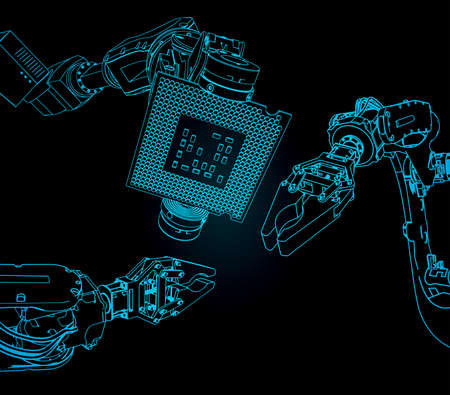 Vector illustration on the theme of robotics and integrated microelectronics. Industrial robot holds microchip closeup