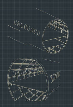 Vector illustration of drawings of an airplane fuselage section Иллюстрация