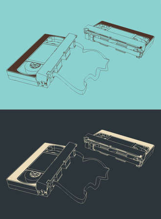 Vector illustration of retro VHS cassettes tape in different angles