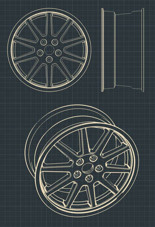 Stylized vector drawings of automotive alloy wheels