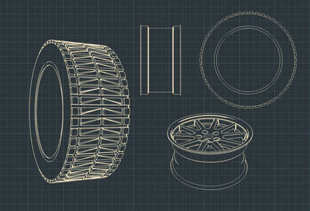 Stylized vector drawings of automotive alloy wheels and tires