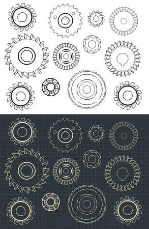Dessins vectoriels stylisés de l'ensemble de cercles de coupe et de fraisage