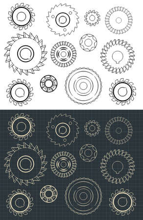 Stylized Vector Drawings of Cutting and Milling Circles Set