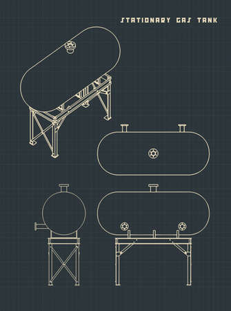 Vector illustration of drawings of a stationary gas tank