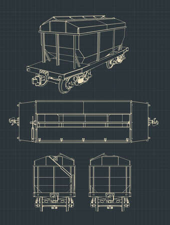 Vector illustration of drawings of a Grain Hopper Wagon