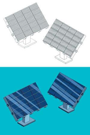 Vector illustration on the theme of renewable energy. Solar panels