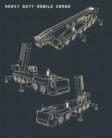 Stylized Vector illustration of Heavy Duty Mobile Crane drawings