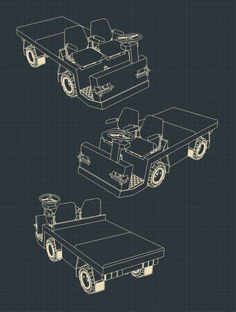 Stylized vector illustrations of Airport Baggage Towing Tractor drawings