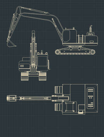 Stylized vector illustrations of Heavy Excavator drawings
