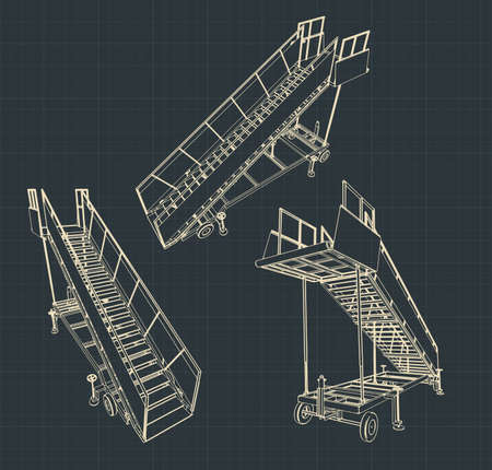 Stylized vector illustration of airplane ladder drawings