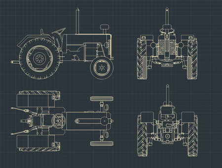 Stylized vector illustrations of a Tractor blueprints