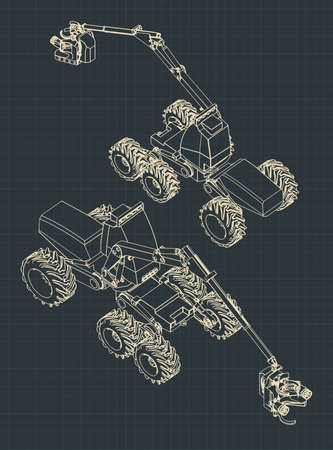 Stylized vector illustrations of a forest harvester machine colorful blueprints