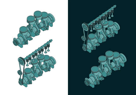 Stylized vector illustrations of color drawings of Piston group with crankshaft