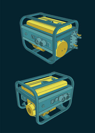 Stylized vector illustration of a portable generator