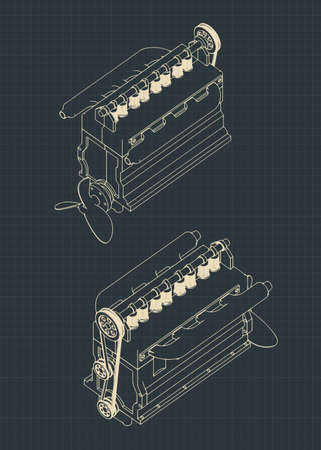 Stylized vector illustrations of a four-cylinder diesel engine drawings