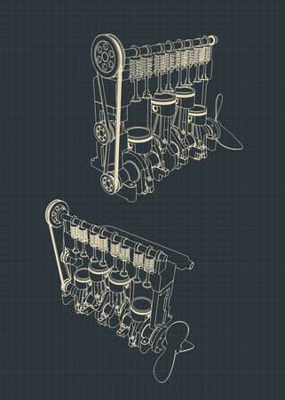 Stylized vector illustrations of a four-cylinder diesel engine cutaway drawings Vettoriali