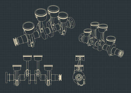 Stylized vector illustrations of drawings of Piston group with crankshaft