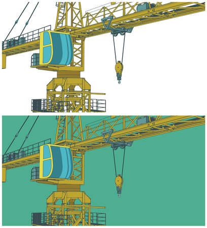 Stylized vector illustration on the theme of the construction industry. Construction crane close-up.