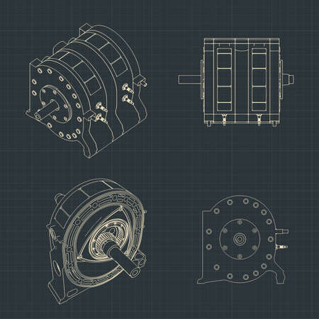 Stylized vector illustration of a rotary engine drawings