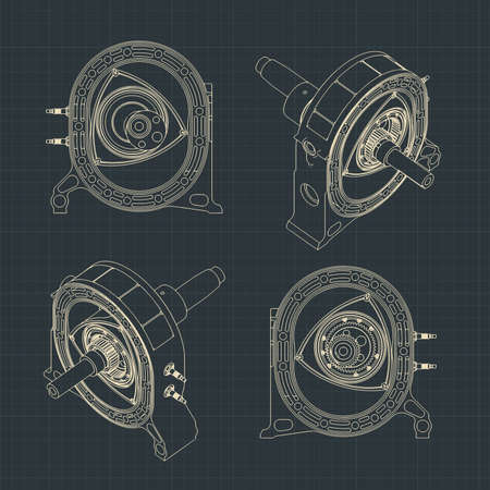 Stylized cutaway vector illustration of a rotary engine drawings