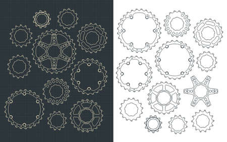 Stylized vector illustration of a Bicycle Sprockets Set Ilustração