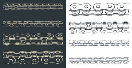 Stylized vector illustration of a close-up of mechanical chain transmission drawings from different angles Ilustração