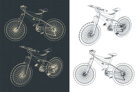 Stylized vector illustrations of a mountain bike drawings