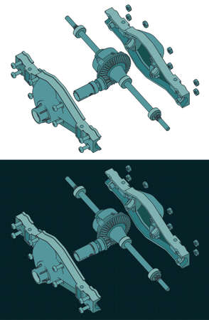 Stylized vector illustration of isometric color drawings of the rear differential of the truck disassembled