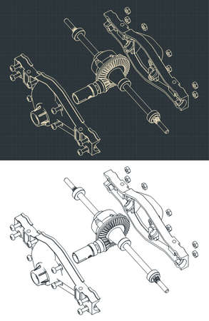 Stylized vector illustration of isometric drawings of the rear differential of the truck disassembled Vector Illustration
