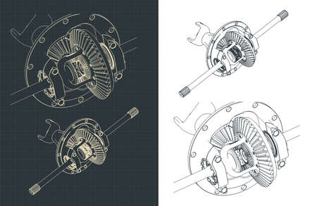 Stylized vector illustration of Gear Differential drawings