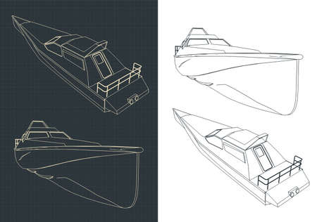 Stylized vector illustration high speed boat drawings Stock Illustratie