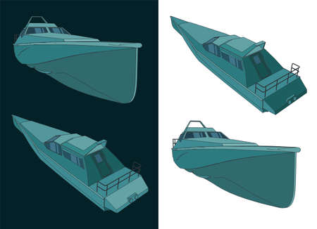 Stylized vector illustration high speed patrol boat color drawings Stock Illustratie