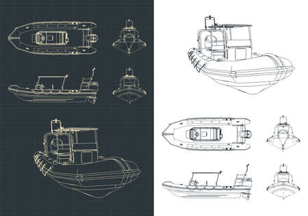 Stylized vector illustration of rigid inflatable boat drawings Vector Illustration