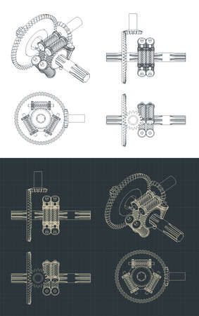 Stylized vector illustration of torsen differential drawings mini Set