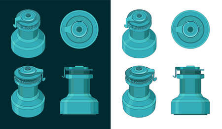 Stylized vector illustration of a yacht winch color drawing