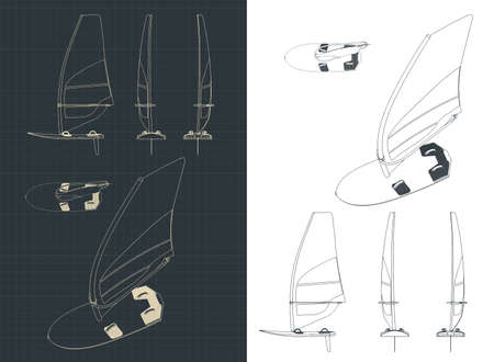 Stylized vector illustration on the theme of windsurfing. Windsurf drawings set