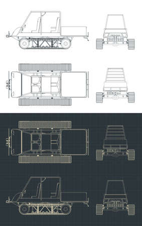 Stylized vector illustration of drawings of a tracked all-terrain vehicle