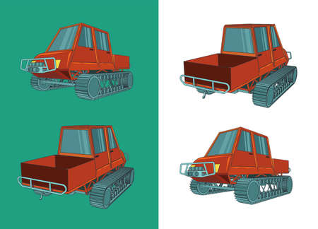 Stylized vector illustration of a tracked all-terrain vehicle