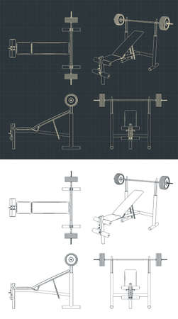 Stylized vector illustration drawings of benches for bench press with barbell