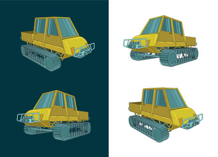 Stylized color vector illustration of a tracked all-terrain vehicle