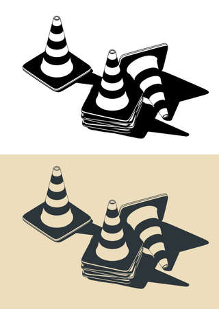 Stylized vector color illustrations of traffic cones drawings