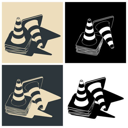 Stylized vector color illustrations of traffic cones mini Set