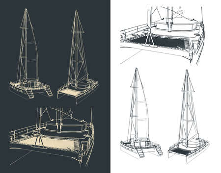 Stylized vector illustration of drawings of a sailing catamaran