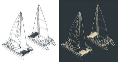 Stylized vector illustration of isometric drawings of a sailing catamaran
